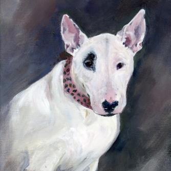 bull terrier dog portrait acrylic