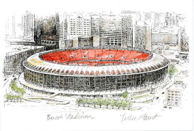 Old Busch Stadium hand colored print