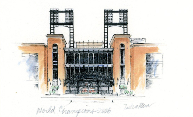 Busch Stadium Print Pencil Drawing STL Home of the St Louis Cardinals