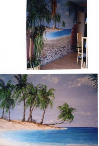 custom mural beach ocean