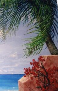 ocean mural beach palm trees