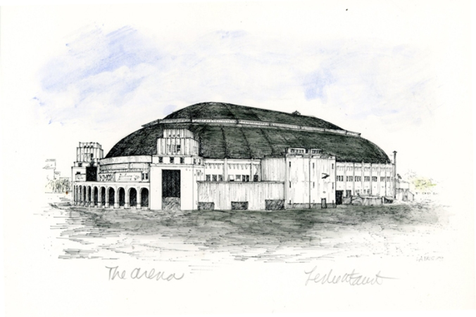 The Arena - pen & ink drawing St. Louis landmark