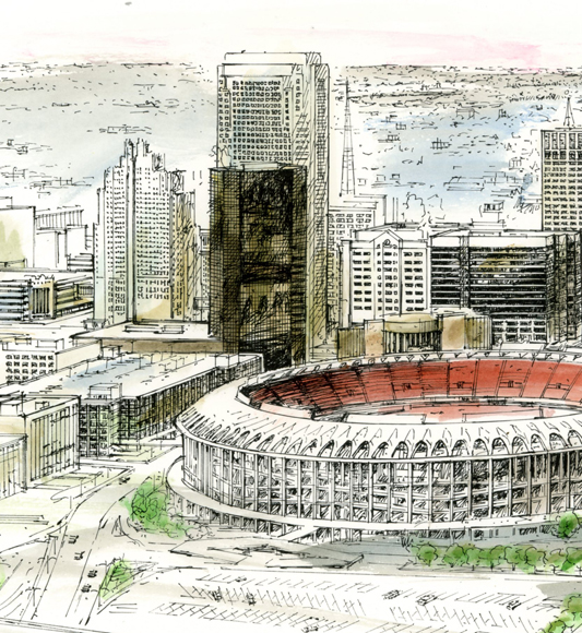St. Louis art pen&ink hand colored